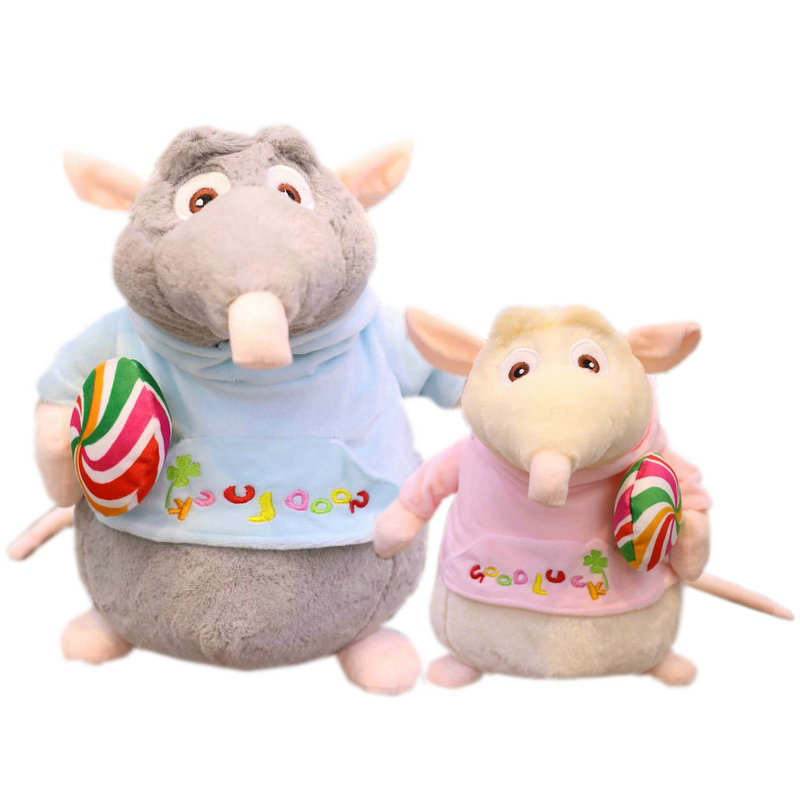 High Quality Elf Pirate Mouse Plush Toy Stuffed ]anime Animals Little Rats Good Luck Sweatshirt Plush Doll Toys For Children