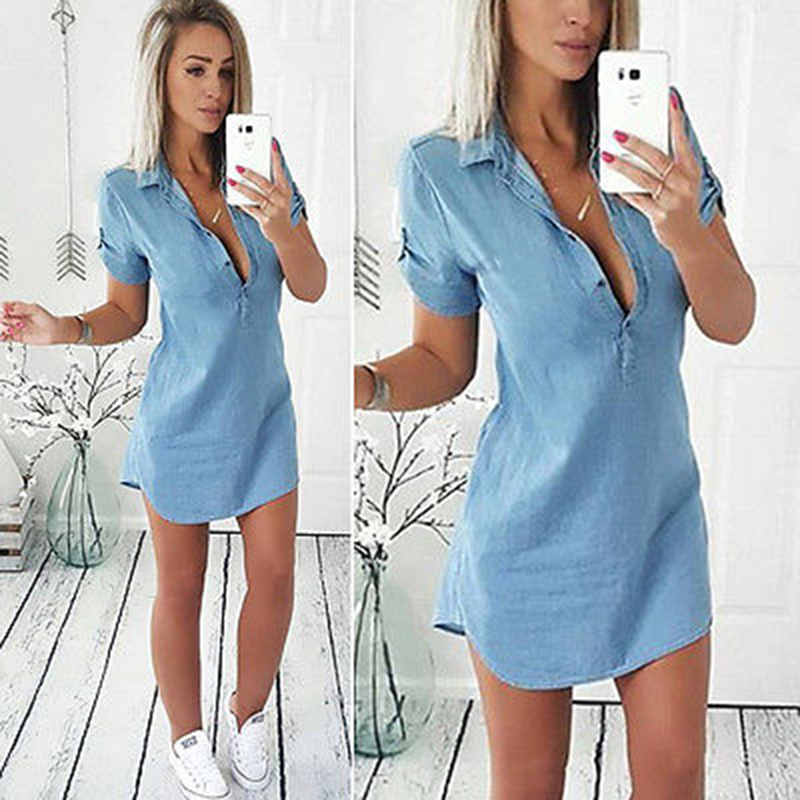 2018 Summer Women Chest Button V-neck Shirt Dress Casual Button Short Sleeve Denim Vintage Dresses Vintage Asymmetrical Vestido