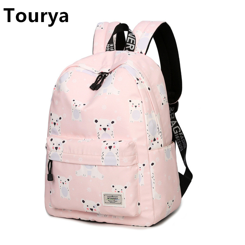 Tourya Cute Women Backpack School Backpacks Bags Schoolbag for Teenagers Girls Laptop Backbag Travel Daypack Mochila Feminina
