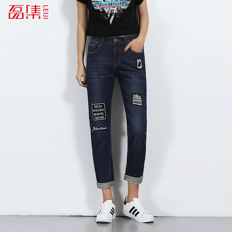 LEIJIJEANS 2017 Fashion 6XL Femme Boyfriend Blue Embroidery Plus Size Women Full Length Elastic Mid Waist Vintage Loose Jeans 2017 leijijeans jeans women mid elastic dark blue plus size jeans with embroidery pants full length loose style straight fat mm