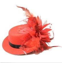 Dots Red del Evento de Danza Partido sombrerería Sombreros de Señora Feather Fascinator Del Pelo Clip Mini Top Hat Mujeres novia Cap apoyos regalos de despedida de soltera