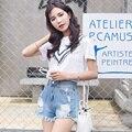 Damas Pantalones Vaqueros Cortos Acanalado Hoyos Cortos Pantalones Cortos de Verano para Las Mujeres Ropa de Verano