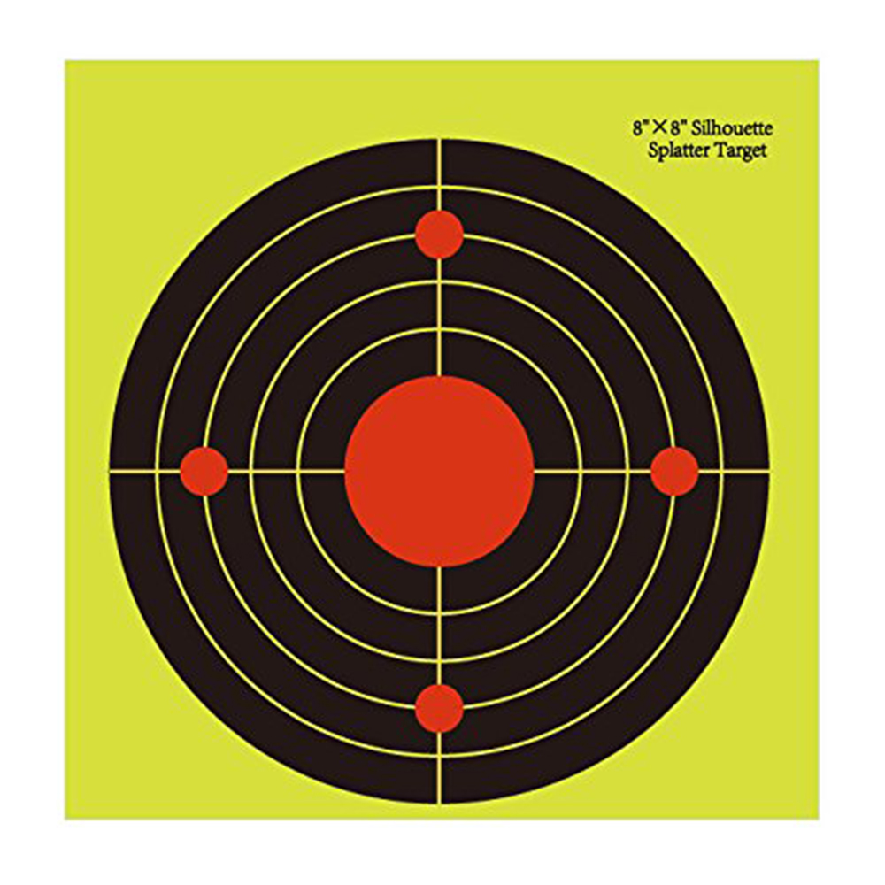 100 pcs 8 Splatter Shooting Targets Instantly See Your Shots Burst Bright Fluorescent yellow Upon Impact great for all firearm