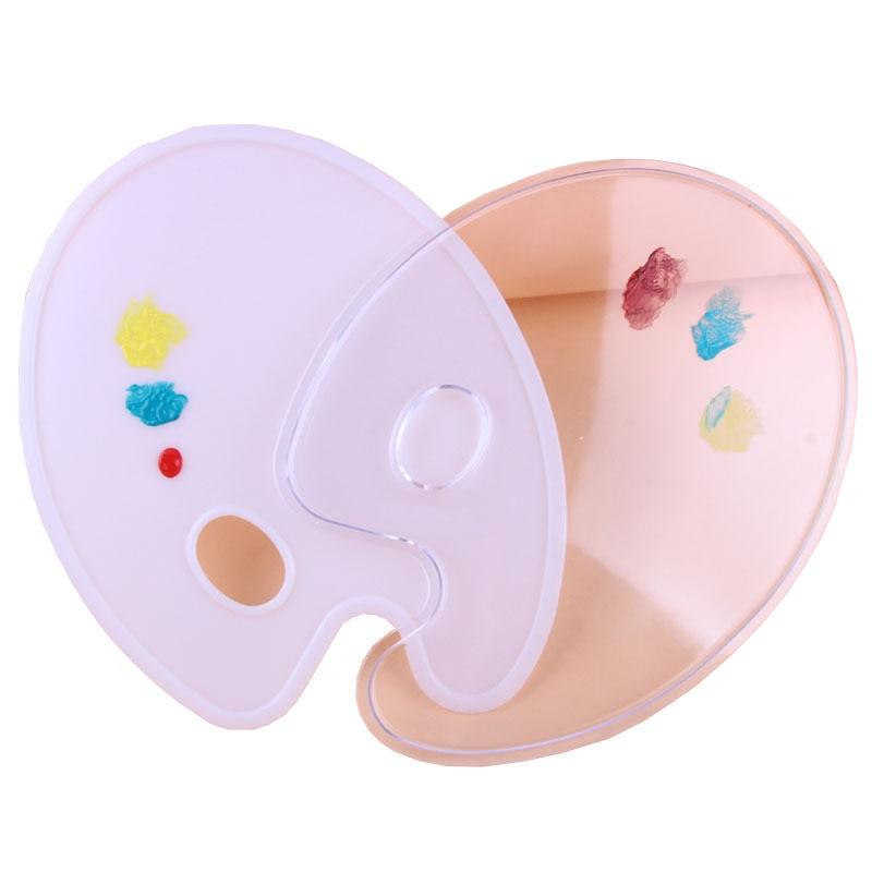 1 Pcs Elliptical Flat Plastic Palette Environmental Protection PP Belt Hand-held Creative Art Pigment Palette Artistic Supplies