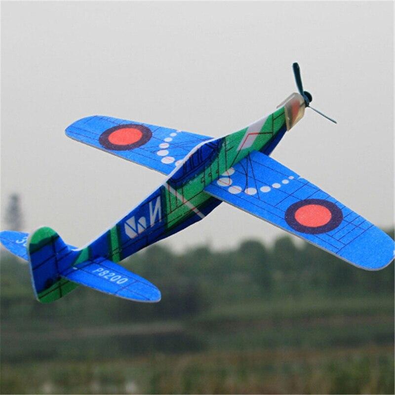 Случайного цвета, 1 шт., 19 см, ручной запуск, бросок, инерционный пенный самолёт, модель, уличные игрушки, самолёты из ЭВА