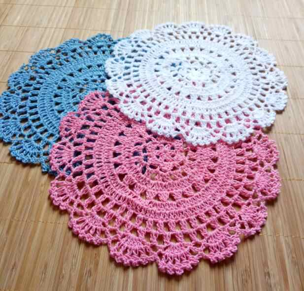 Top Round Cotton Lace Table Place Mat Crochet Coffee Placemat Pad