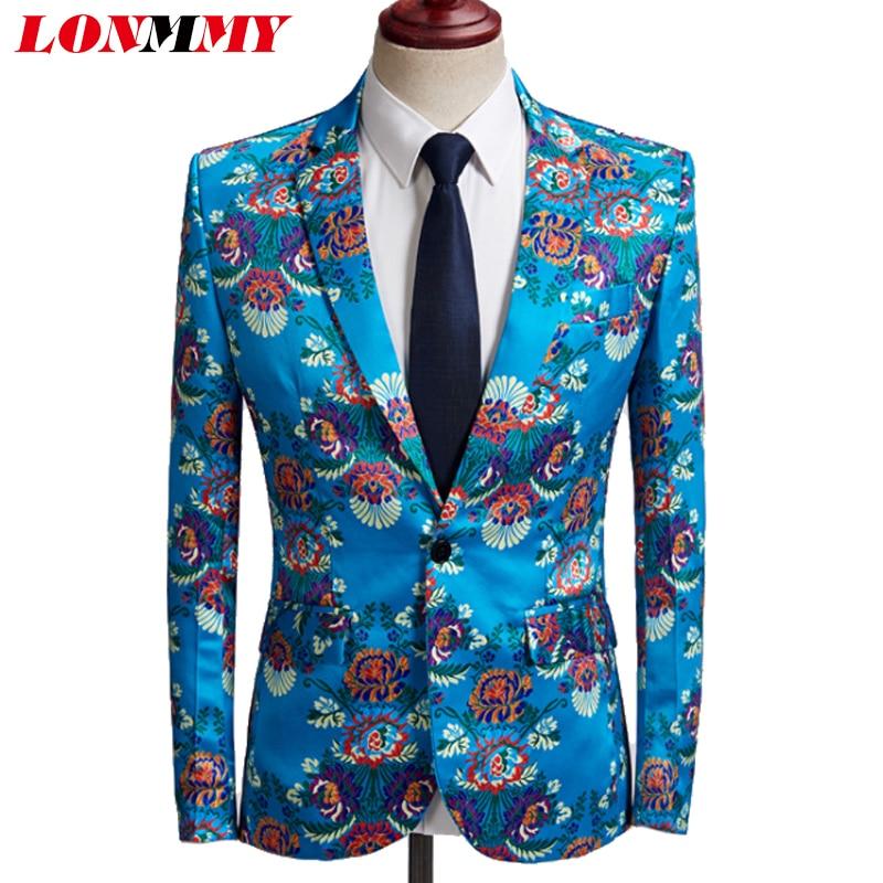 LONMMY Lake Blue Flowers Blazer Masculino Tuxedos Formal Wear Blazer Men Stage Men Suits For Wedding Mens Blazer Jacket Floral
