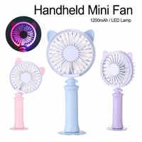 Cute Cat Ears Fan Portable Hand Fan Battery Operated USB Power Handheld Mini Fan Cooler Cooling Fan Outdoor Travel Air Cooler