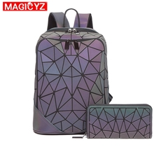 Luminous Set Women Backpack Quilted lattice School Backpacks For Teenage Girl School Bags Holographic Mochila Clutch purse