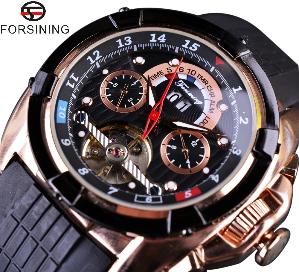 Forsining Multifunction Tourbillon Date Day Display Rose Golden Watch Men Luxury Brand Automatic Watch Fashion Men Sport Watches forsining date month display rose golden case mens watches top brand luxury automatic watch clock men casual fashion clock watch