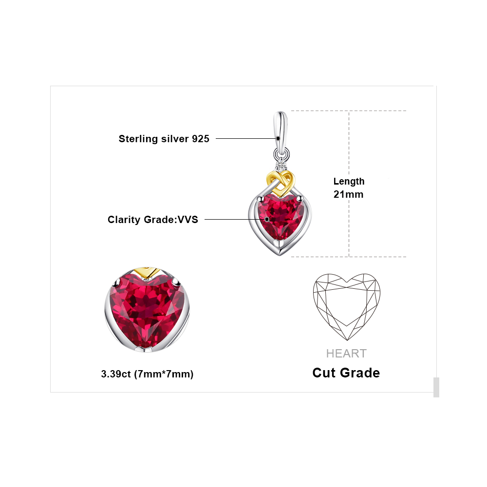 SmyckenPalace Love Knot Heart 3.4ct Skapad Red Ruby Anniversary Drop - Fina smycken - Foto 5