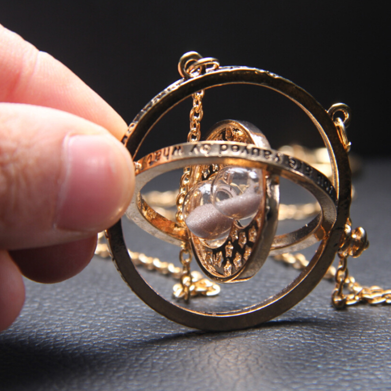 Time hourglass astronomical letter gold necklace for women men Creative Complex Rotating Cosmic pendant necklace fashion jewelry