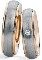 2014 bicolor gold plating European style custom health titanium engagement and wedding rings sets