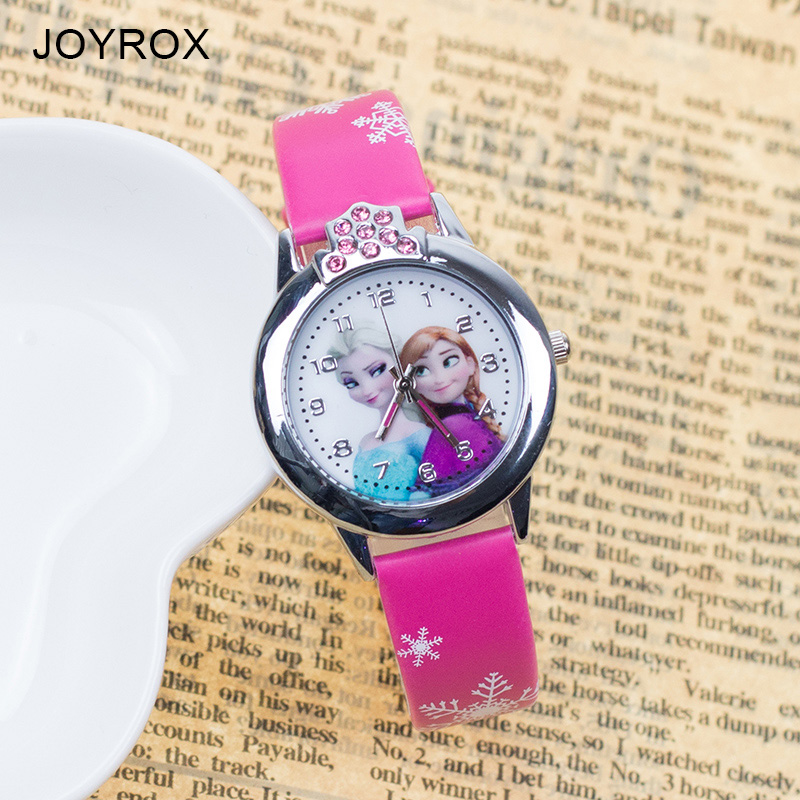 JOYROX Hot Princess Elsa Mönster Barn Klocka Mode Crystal Cartoon Läder Rem Kvarts Armbandsur Casual Girls Kids Clock