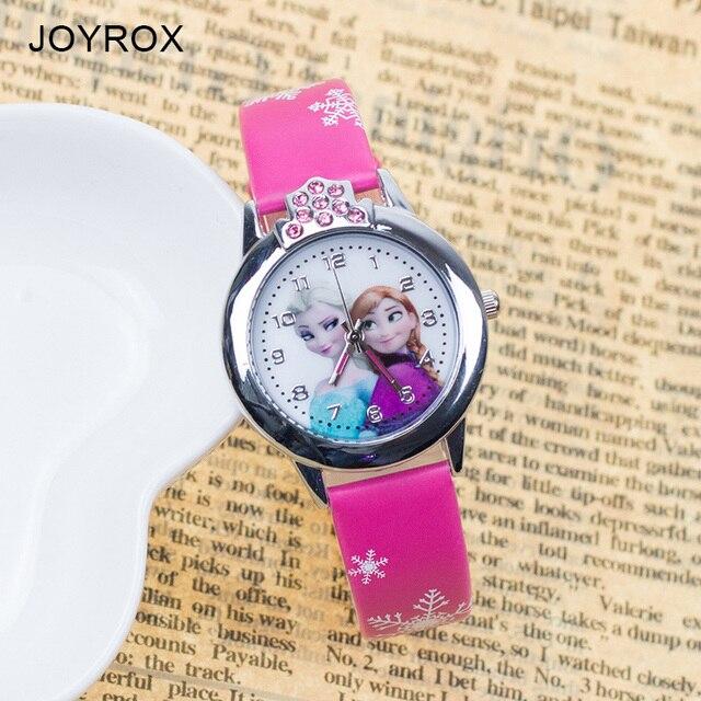 JOYROX Hot Princess Elsa Pattern Children Watch Fashion Crystal Cartoon Leather