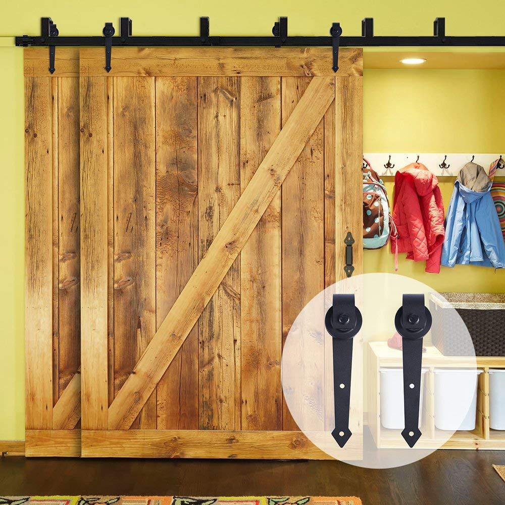 LWZH Rustico Porta In Legno Bypass Scorrevole Barn Door Hardware Kit In Acciaio Nero A Forma di Freccia Pista Rulli per Interni Doppia Porta