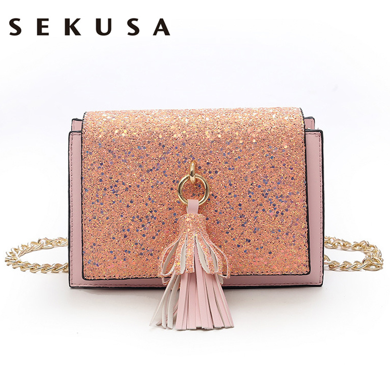 SEKUSA tassel bag female 2018 pu new small square bag Korean fashion chain shoulder bag Messenger bag small day clutch purse bag female 2018 new fashion sequins convenient bread bag chain small square bag shoulder slung dinner bag