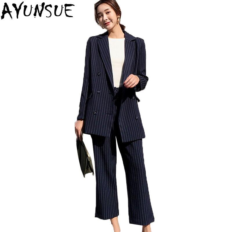 Femmes Pour Costumes Ayunsue 2 Outwear Dames Bureau Lx2142 Dark Blue Blazer Ensemble Double Blazers Boutonnage Pièce Rayé Nouveau 2018 Pantalons À qwqCx8f0