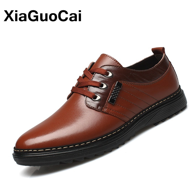 XiaGuoCai Spring Autumn Lightweight Men Casual Shoes PU Leather Fashion British Business Lace Up Round Toe Sewing Male Shoes X17 xiaguocai spring autumn high top men shoes fashion canvas men s casual shoes lace up flat ankle boots for male