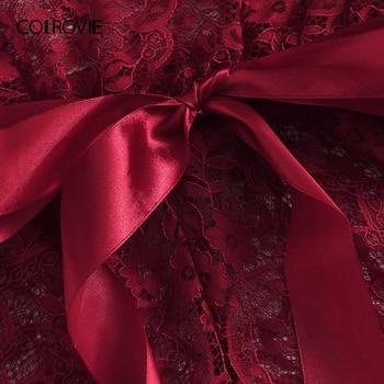 COLROVIE Burgundy Floral Lace Scallop Knot Halter Sexy Lingerie Teddy Bodysuit Women Pajamas 2019 Summer Sleepwear Nightgowns 4