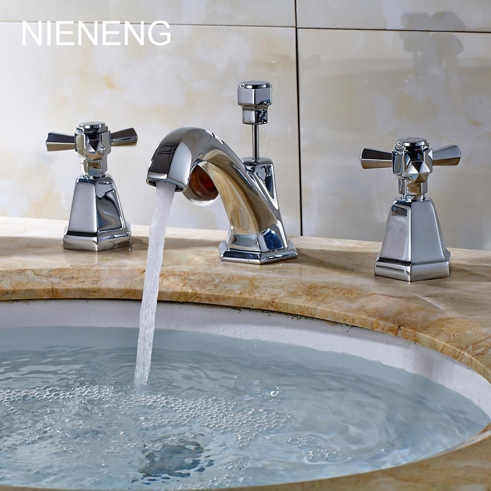 Vintage bathroom sinks - Nieneng Bathroom Faucet Vintage Sink Faucets Tap 3 Hole Basin Sink Mixer Bathtub Taps Bath Dual Handle Hardware Mixers Icd60169