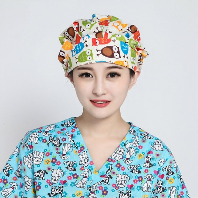 5 pcs elastic Adjustable Doctor Nurse Caps Women's Surgical Hats with Sweatband Inner Pet Dentist Work Cap Anesthesiologist Caps