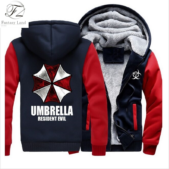 Dropshipping Hot Game Resident Evil Umbrella Corporation Mens Zipper Hoodie Fleece Thicken Jacket Sweatshirt Coat