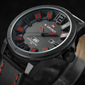 NAVIFORCE Militar Esporte Relógios para Homens De Couro Relógio de Quartzo com Calendário de Moda de Luxo Esporte Relógios para Homens À Prova D' Água