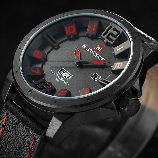NAVIFORCE Sport Watches for Men Leather Military Quartz Watch with Calender Luxury Fashion Waterproof Sport Watches for Men