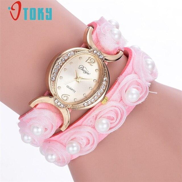 OTOKY Watch Women Vintage Floral Leather Strap Ladies Bracelet Watches Analog Qu