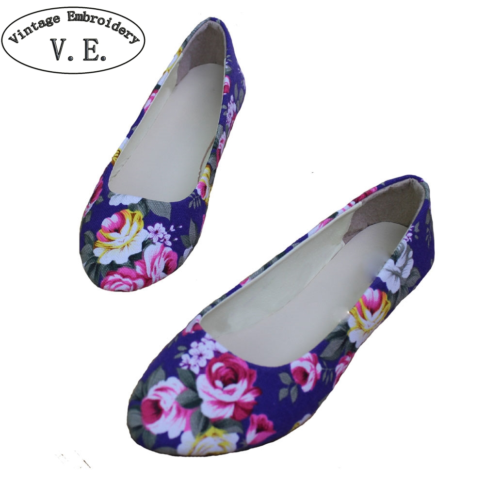 New Spring Summer Shoes Woman Flower Print Flats Womens Loafers Ladies Shoes Zapatos Mujer Plus Size 35-42 new 2017 spring summer women shoes pointed toe high quality brand fashion womens flats ladies plus size 41 sweet flock t179