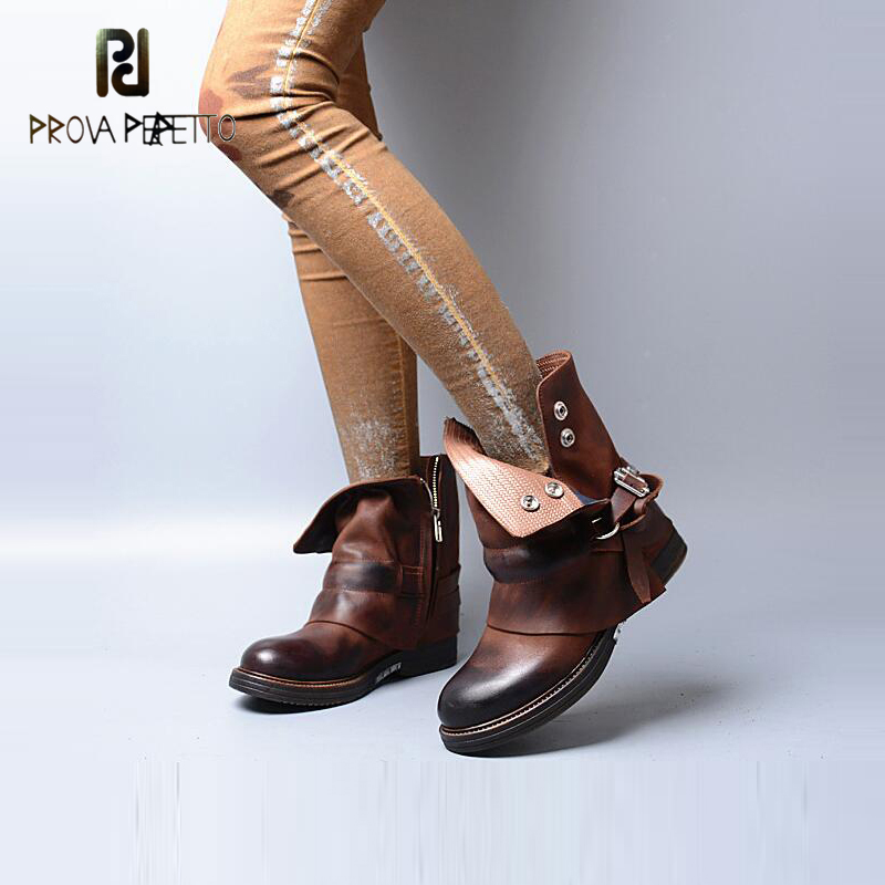 Prova Perfetto 2017 New Coming Women Ankle Boots Buckle Decor Old Vintage Martin Boots Comfortable Leisure