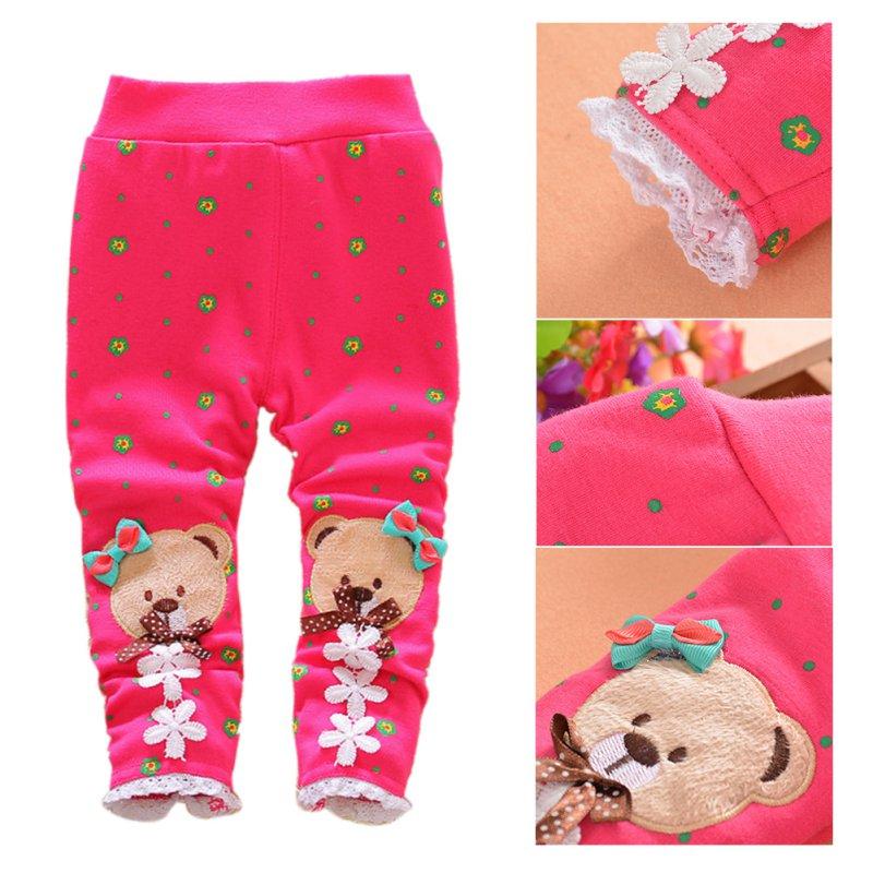 Winter Thick Fleece Lined Baby Leggings Warm kids Clothing Boys Girls Bear Pants Trousers Pants