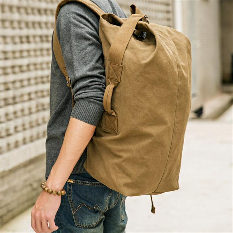 ФОТО KAKA Simple Large-Capacity Canvas Backpack Men Multi-Function School Bag For Student Travel Vintage Classic Backpack X760