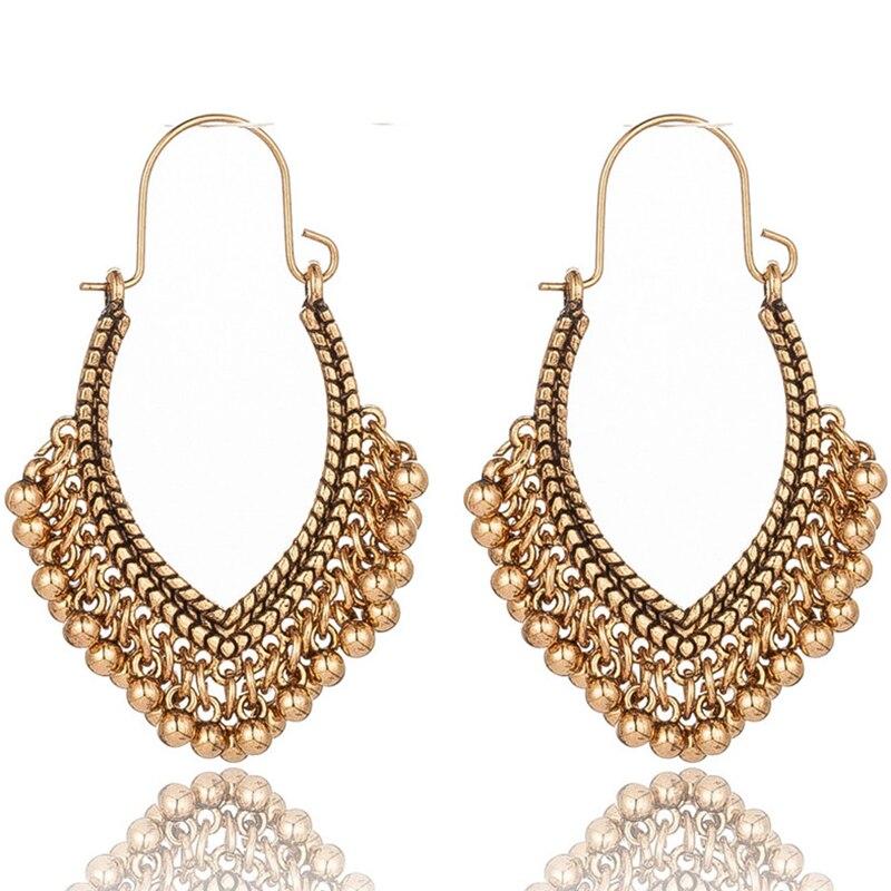 Этнические геометрические серебряные золотые индийские серьги ювелирные изделия винтажные серьги с подвесками для женщин богемные серьги...