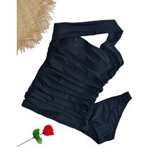 Summer Europe 2016 new Oblique shoulder fresh style womens swim swimwear Sexy Folds professional ONE PIECE SWIMSUIT D0132