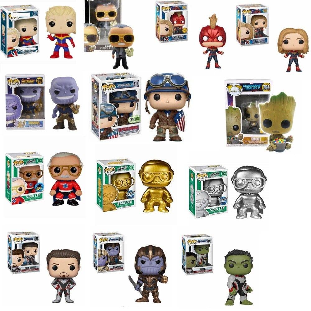 FUNKO POP Novos Vingadores: endgame Stan Lee 03 # & TERREMOTO brinquedos Coleção Figuras de Ação Modelo Brinquedos para presente de Natal Das Crianças