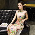 New Arrivals Hot Long Charming Chinese Women's Evening Dress Short Sleeve Cheongsam Qipao Size S M L XL 2XL