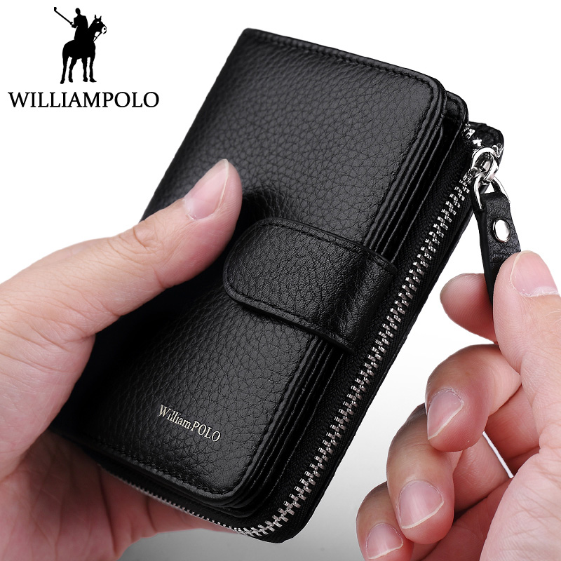 WilliamPOLO Mens wallet for credit cards Genuine leather wallet Men zipper purse Fashion small slim wallet short leather pouch baellerry small mens wallets vintage dull polish short dollar price male cards purse mini leather men wallet carteira masculina
