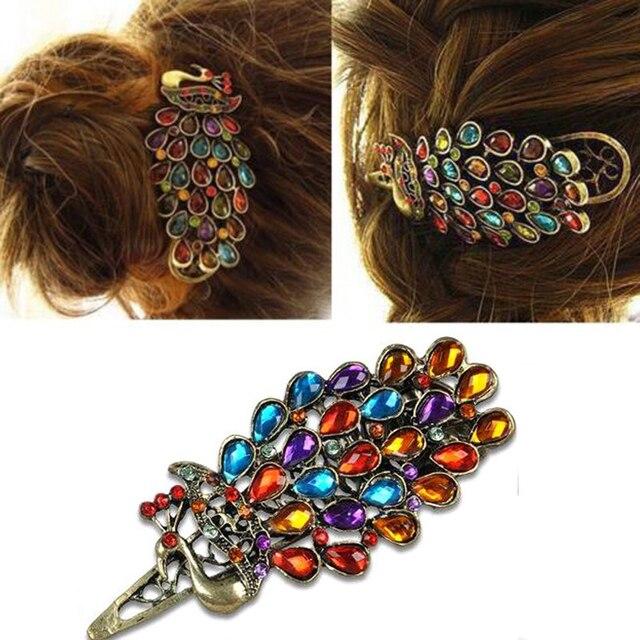 Nowy Gorący, hurtownia włosów akcesoria mody vintage, pawie wielobarwne kryształ spinka do włosów akcesoria drobne akcesoria