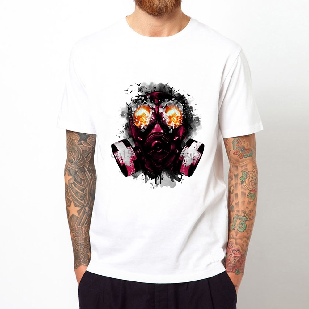 Kind-Hearted Gas Masks Printing Man Summer T-shirt Casual Short Sleeves Man Top Tee Bright In Colour T-shirts