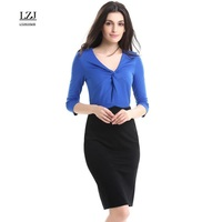 LZJ Summer Professional Women Working Pencil Sheathed Vestidos New V Neck Seven Sleeves Lotus Leaf Stitching