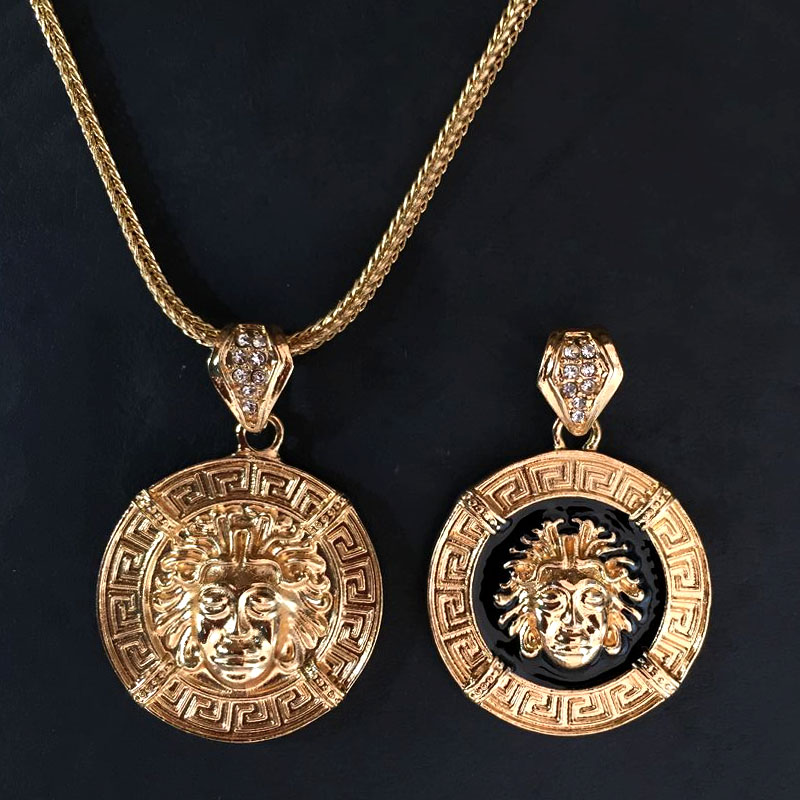 Medusa Necklace New Large Pendant With 36 Inch Franco Style Chain