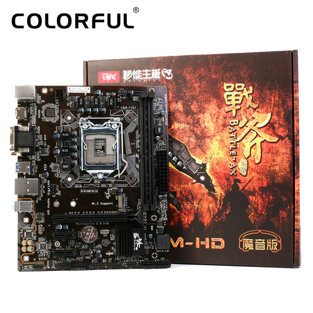Colorful Mainboard Motherboard Battle AXE C.B150M-HD V20 for Intel B150 LGA 1151 SATA 6Gb/s USB 3.0 Gaming DDR4 mATX Desktop LOL