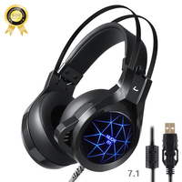 Gaming Headset With Mic For Pc Headphones Luminous 7 Color Durable Headset Have Big Ear Cap