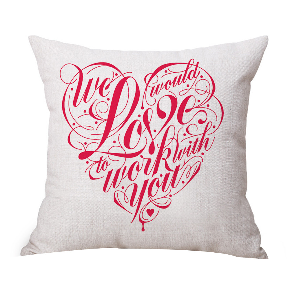 Newest Happy Valentines Day Coussin Throw Pillow Cover Cotton Sweet Love Square Cushion Cover valentines day gift 45cm*45cm