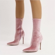 Woman Pink Velvet Sock Boots Pointed Toe Stiletto Heels Ankle High Heeled Slim Fit Gladiator Sandals Side Zipper