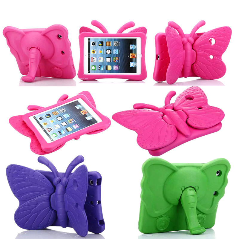 For iPad Mini Colorful Case Kids Shockproof Tablet Cover for iPad Mini 1 2 3 Cute Butterfly Elephant Soft EVA Foam Stand Case for ipad mini4 cover high quality soft tpu rubber back case for ipad mini 4 silicone back cover semi transparent case shell skin