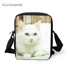 ELVISWORDS Women Messenger Bags White Angora Cats Prints Girls Flaps Shoulder Kawaii Animal Pattern Travel Mini Purses