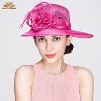 Lady Wind Flower Yarn Hat Female Wide Brim Fedoras Cap Girls Wedding Hat Church Party Cap Dress Kentucky Derby Hats B 8166